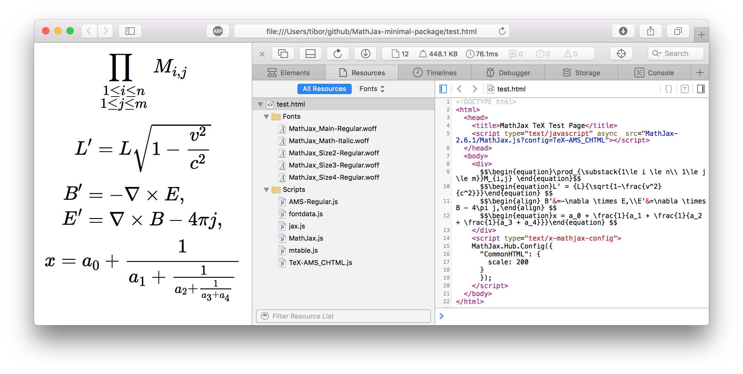 Testing the MathJax package with a small html file.